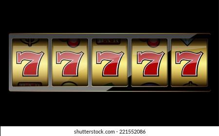 Slot machine symbols on black background. Vector illustration