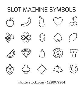 Slot machine symbols related vector icon set. Well-crafted sign in thin line style with editable stroke. Vector symbols isolated on a white background. Simple pictograms.