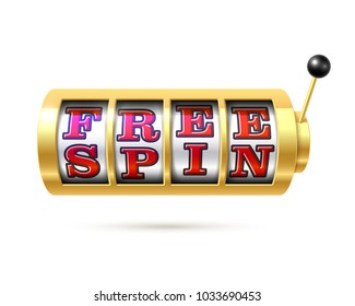 Slot machine with text Free Spin, vector illustration