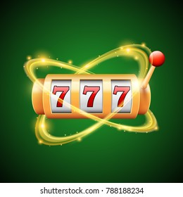 Slot machine with three sevens and glowing effect in motion, vector design
