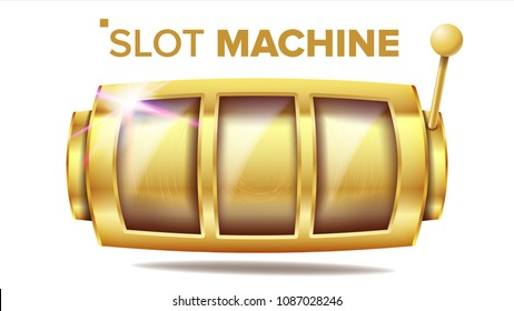Slot Machine Vector. Golden Lucky Empty Slot. Jackpot Gambling Machine Poster. Spin Object. Fortune Sign. Poker Chips, Casino 777 Illustration
