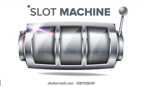 Slot Machine Vector. Silver Lucky Empty Slot. Big Jackpot Win Banner Element. Machine Spin Wheel. Casino Fortune Jackpot. Gambling Fortune Illustration