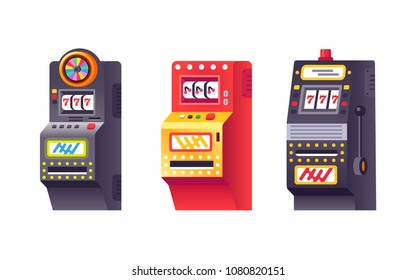 Slot machines, electronic virtual game machine with points. Gambling, entertaining arcade games on monitor. One-armed bandit, roulette, three sevens casinos, for gambler or gamer. Vector illustration.