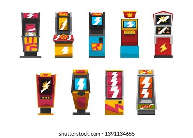 Slot machines set, arcade gambling equipment vector Illustrations on a white background