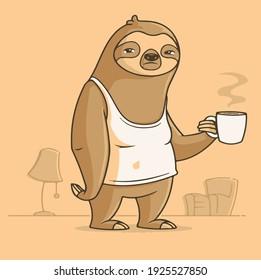 sloth coffee drink morning tea