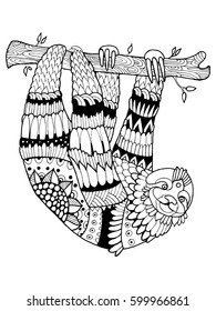 Sloth coloring book vector illustration. Black and white lines. Lace pattern