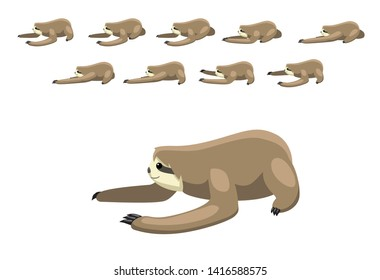 Sloth Crawling Animation Sequence Cartoon Vector