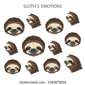 Sloth face emotions collection. Funny cartoon animals. Vector illustration