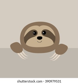 Sloth face and hands. Cute cartoon character. Tree branch Wild jungle animal collection. Baby education. Isolated. White background. Flat design Vector illustration