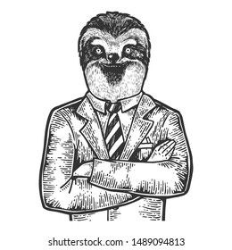 Sloth head businessman sketch engraving vector illustration. Scratch board style imitation. Black and white hand drawn image.