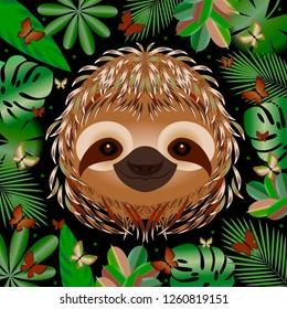 Sloth. Head face portrait. Beige fur. Cartoon style. Animal smiles. Frame of jungle leaves