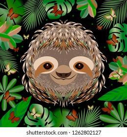 Sloth. Head face portrait. Gray fur. Cartoon style. Animal smiles. Frame of jungle leaves