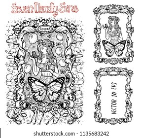 Sloth. Latin word Acedia means Despair or Apathy. Seven deadly sins concept, black and white vector set with frame. Hand drawn engraved illustration, tattoo and t-shirt design, religious symbol