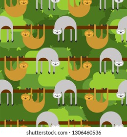 Sloth pattern seamless. lazybones animal Cartoon background. Vector texture