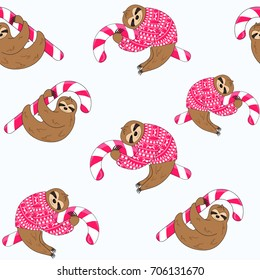 Sloth in a red sweater with candy cane seamless pattern