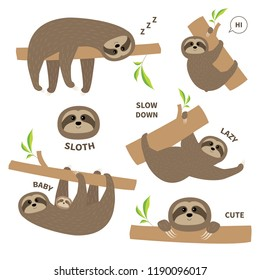 Sloth set mother with baby. Cute lazy cartoon kawaii character. Fluffy fur. Slow down text. Tree branch Wild joungle animal collection. Isolated. White background. Flat design. Vector illustration