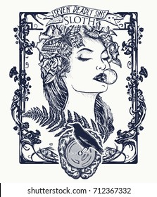 Sloth. Seven deadly sins tattoo and t-shirt design. Lazy woman, symbol of inaction, apathy, idleness, melancholy, depression, boredom. Sleeping missing beautiful girl tattoo