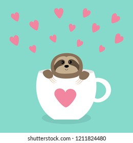 Sloth sitting in coffee cup teacup. Face and hands. Cute cartoon character. Wild jungle animal collection. Slow down. Baby education. Isolated. Blue background. Flat design. Vector illustration