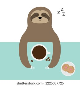 Sloth sleeping. I love coffee cup. Biscuit cookie. Sleep sign zzz. Teacup on table. Top aerial view. Cute cartoon lazy baby character. Wild jungle animal. Slow down. Blue background Flat design Vector