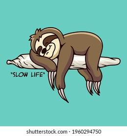 Sloth Slow Life Illustration vector art