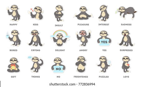 Sloth sticker set. Sad and fun, angry and surprised.