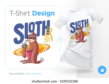 Sloth surfer. Print on T-shirts, sweatshirts and souvenirs. Vector illustration