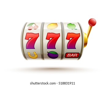 slots 3d element isolated on white with place for text casino object 777 icons