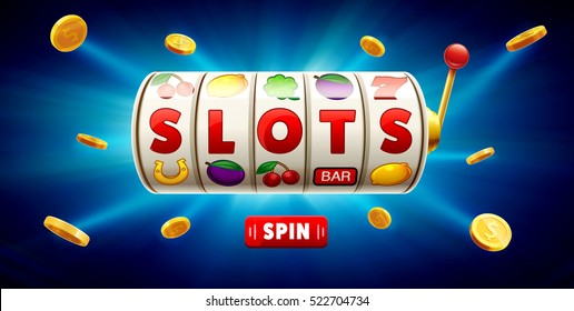 slots 3d element isolated on blue background with place for text casino object 777 icons gold coins red button spin