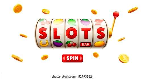 slots 3d element isolated on white background with place for text casino object gold coins red button spin.
