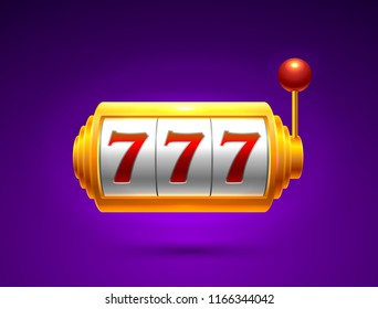 Slots 777 casino jackpot, modern light gold. Vector illustration