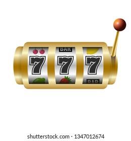 Slots 777 casino jackpot, modern light gold. Vector illustration.