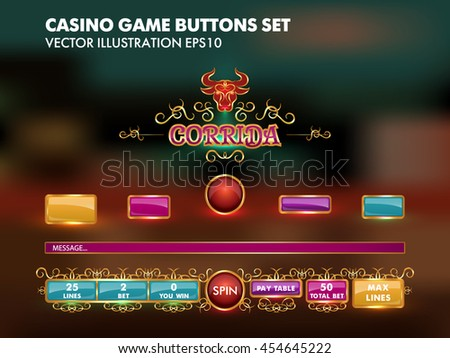 slots game template casino game buttons stock vector royalty free