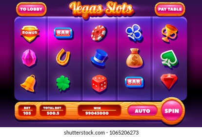 Slots Gameplay Screen .Mobile Game Assets. collection of icons and elements for the creation of slot machines.