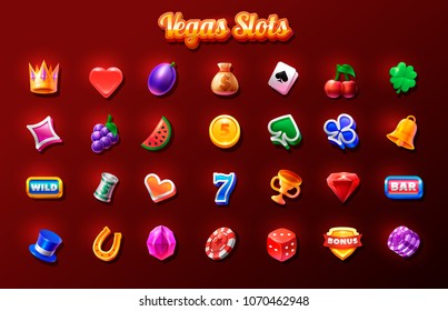 Slots icon set. 2d game icon