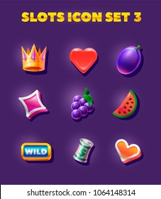 slots icon set. Heard, crown, grapes and other elements for the game slot. Various slot machine icons vector illustration set.