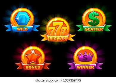 Slots icons, collections wild, bonus, scatter and winner symbols. For game, slots, game development. Icons on a separate layer