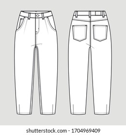 Slouchy jeans. Technical sketch. Vector illustration.