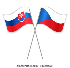 Slovak and Czech crossed flags. Slovakia combined with Czech Republic isolated on white. Language learning, international business or travel concept.