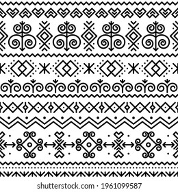 Slovak folk art vector seamless black pattern with abstract geometric shapes inspired by traditional house paintings from village Cicmany in Zilina region, Slovakia. Retro ornament from Slovakia