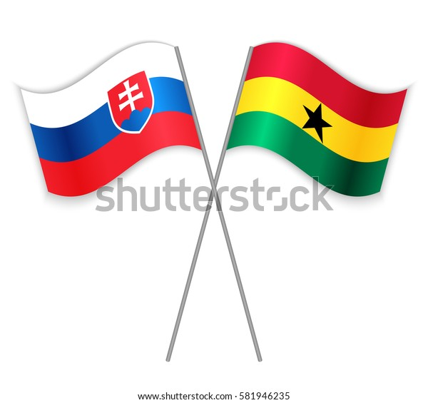 Slovak and Ghanaian crossed flags. Slovakia combined with Ghana isolated on white. Language learning, international business or travel concept.