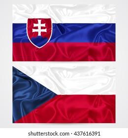 slovak republic, czech republic flag vector illustration, white background