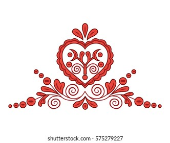 Slovak traditional floral ornament isolated on white background