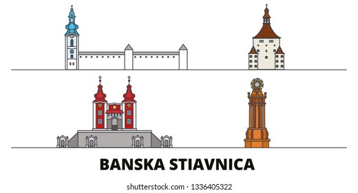 Slovakia, Banska Stiavnica flat landmarks vector illustration. Slovakia, Banska Stiavnica line city with famous travel sights, skyline, design.