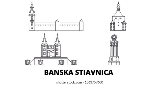 Slovakia, Banska Stiavnica line travel skyline set. Slovakia, Banska Stiavnica outline city vector illustration, symbol, travel sights, landmarks.