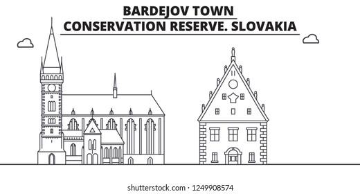 Slovakia - Bardejov Town, Conservation Reserve travel famous landmark skyline, panorama, vector. Slovakia - Bardejov Town, Conservation Reserve linear illustration