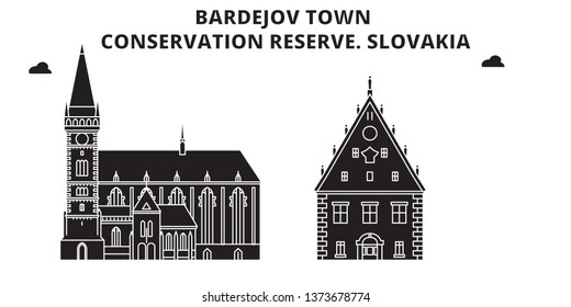 Slovakia , Bardejov Town, Conservation Reserve ,  travel skyline vector illustration.