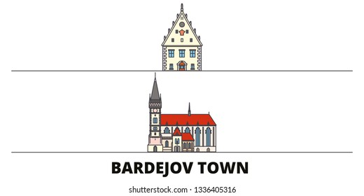Slovakia, Bardejov Town flat landmarks vector illustration. Slovakia, Bardejov Town line city with famous travel sights, skyline, design.