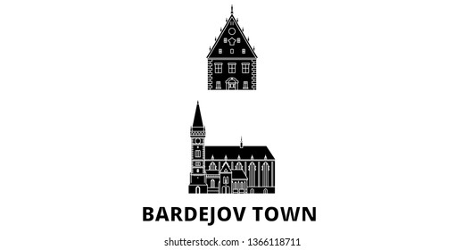 Slovakia, Bardejov Town flat travel skyline set. Slovakia, Bardejov Town black city vector illustration, symbol, travel sights, landmarks.