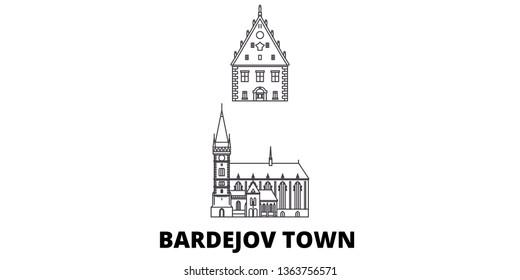 Slovakia, Bardejov Town line travel skyline set. Slovakia, Bardejov Town outline city vector illustration, symbol, travel sights, landmarks.