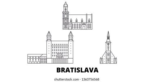 Slovakia, Bratislava line travel skyline set. Slovakia, Bratislava outline city vector illustration, symbol, travel sights, landmarks.